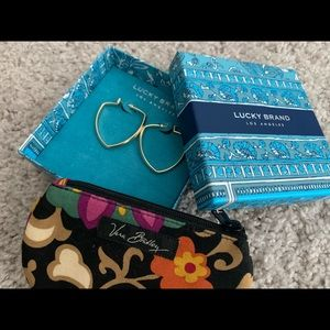 Lucky Brand earrings and Vera Bradley coin purse